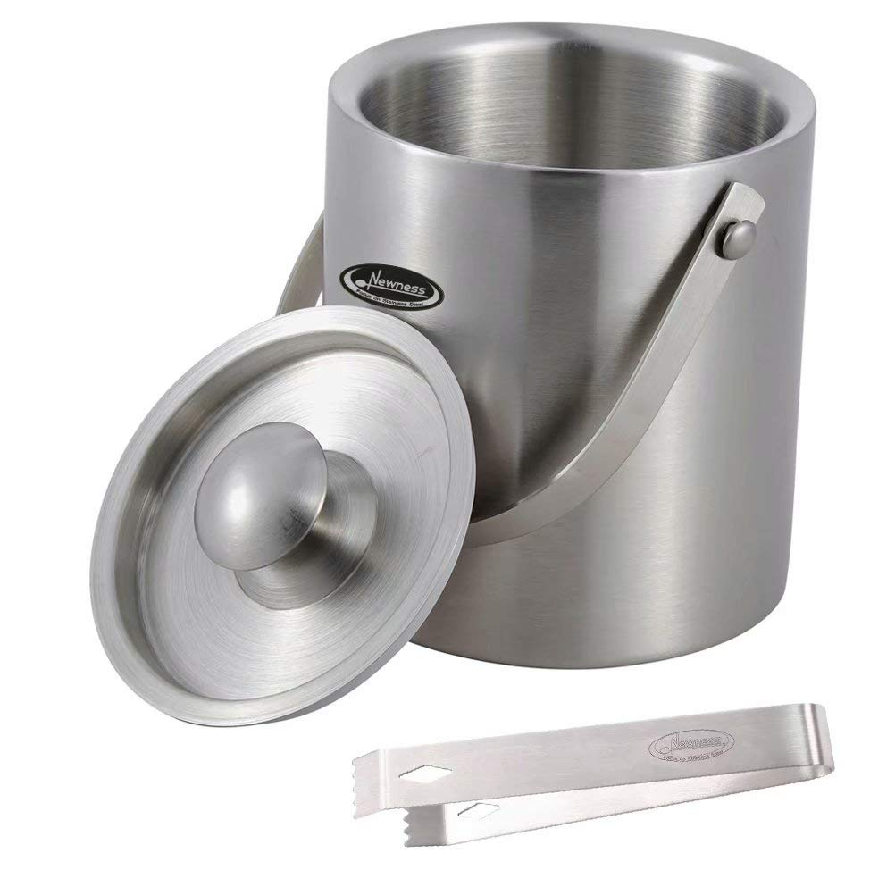 Ice Bucket, 1.56 Quarts (1.5 liters) - Newness Stylish Double Wall Insulated Stainless Steel Ice Bucket with Ice Tongs with Lid and Portable Handle - Small Size