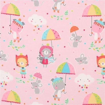 Tela de franela rosa claro lindo paraguas animales lunares Michael Miller EE. UU