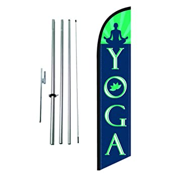 Amazon.com: Yoga Fitness Gym Advertising Feather Banner ...