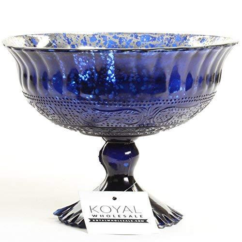 - Koyal Wholesale Compote Bowl Centerpiece Mercury Glass Antique Pedestal Vase, Floral Centerpiece, Wedding, Bridal Shower, Home Décor (7