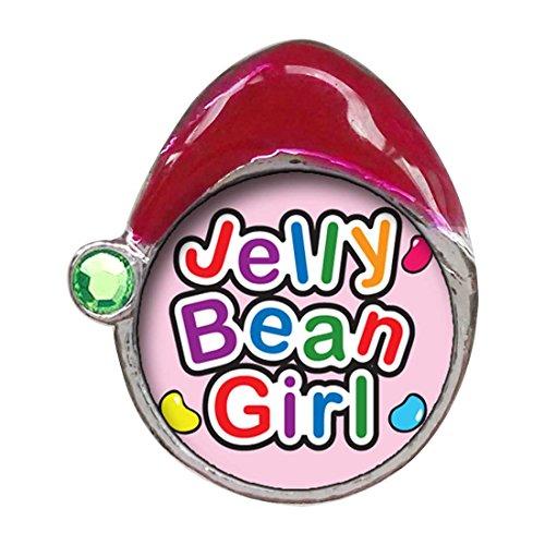 (GiftJewelryShop Cartoon Theme Peridot Crystal August Birthstone Santa Hat Charms, Jelly Bean Girl Easter)