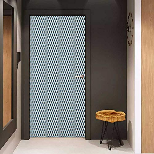 Onefzc Door Sticker Mural Geometric 3D Effect with Stacked Cubes Pattern Grid Style Squares Arrangement WallStickers W23.6 x H78.7 Pale Blue Dark Blue