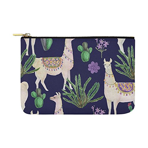 Unique Debora Customize Carry-All Pouch with Zippered Cosmetic Cases Makeup Bag Travel Gear for Seamless Pattern With Llamas And Cacti