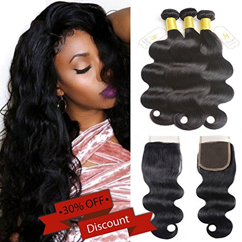 Brazilian Virgin Human Hair Body Wave 3 Bundles with 4x4 Lace Closure Grade 7A (22 24 26+20, free part)Long Inch Human Hair Weave with Silk Lace Closure 4x4 Color 1B#