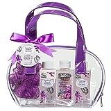 Spa Kit for Women ~ Detoxifying Purple Basil Flower & Kale Bath Salts, Bubble Bath, Shower Gel, and Bath Puff Set in a Perfect Shower Bag Size ~ Skincare Gift set