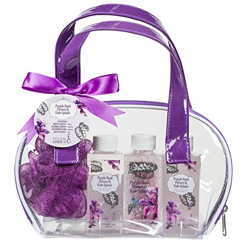 Bath and Body Skincare Kit Spa Gift Set Bag for Women, in Detoxifying Purple Basil Flower and Kale Fragrance by Freida and Joe, Includes Bath Salts, Bubble Bath, Shower Gel, and a Bath Puff