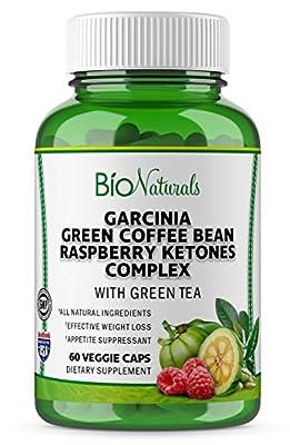 Garcinia Cambogia Premium HCA Weight Loss Blend – 100% Pure Diet Supplement For Men & Women with Raspberry Ketones, Green Coffee Beans & Green Tea Extract by Bio Naturals – 60 Veggie Capsules