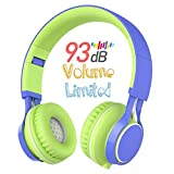 Kids Headphones, HD30 Wired On-Ear Kids Headsets with Microphone Volume Limiting for Boys Girls and iPad Tablets Computer Laptops Android Smartphone (Blue/Green)