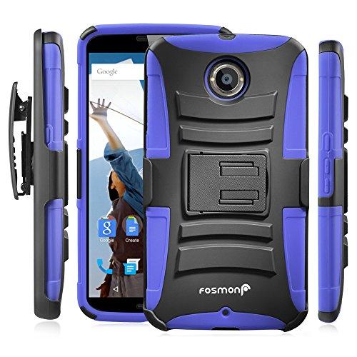 Fosmon STURDY Shock Absorbing Dual Layer Hybrid Holster Cover Kickstand Case for Google Nexus 6 (Dark Blue)