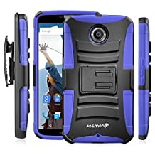 Fosmon® Google Nexus 6 (STURDY Series) Heavy Duty Dual Layer Hybrid Holster Case with Kickstand and Belt Clip for Motorola Nexus 6 - Fosmon Retail Packaging (Dark Blue)