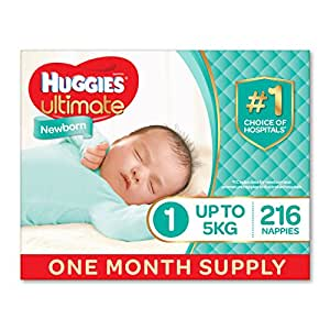 Huggies Ultimate Nappies, Unisex, Newborn Size 1 (Up To 5kg) (Pack of 216)