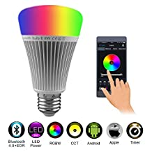 Bluetooth Smart Led Light Bulb 8W RGB+CCT 16 Million Color Changing Dimmable Music and Timer Function controlled by Free App IOS Apple/Android Smartphone