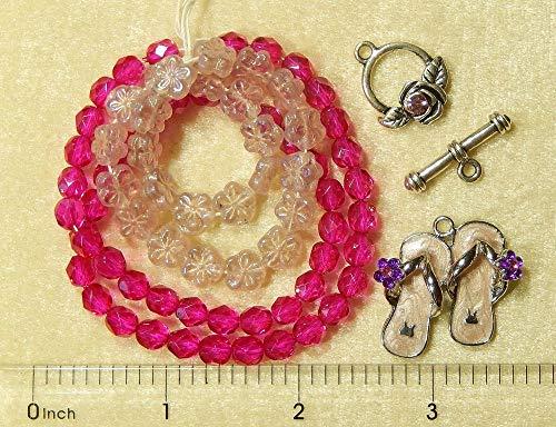 - Pink Purple Crystal Rhinestone Flip Flops Charm Fushsia Beads Swarovski Clasp