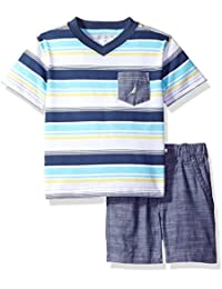 Nautica Baby Boys' Crew Neck Tee/Stripe Short Set