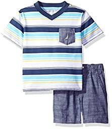 Nautica Boys\' Striped V-Neck Tee and Chambray Short Set, Ink, 24 Months