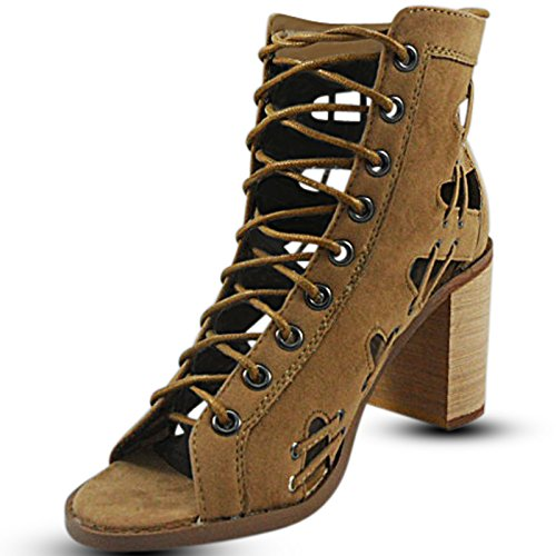 CORE COLLECTION New Womens Ladies Chunky Cut Out Lace up PEEP Toe HIGH Heel Shoes Size 3-8 Taupe Suede Npn8NtHb