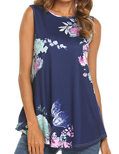 Tobrief Women Floral Print Sleeveless Flare Flowy Tank Tops(Navy Blue, S) ()