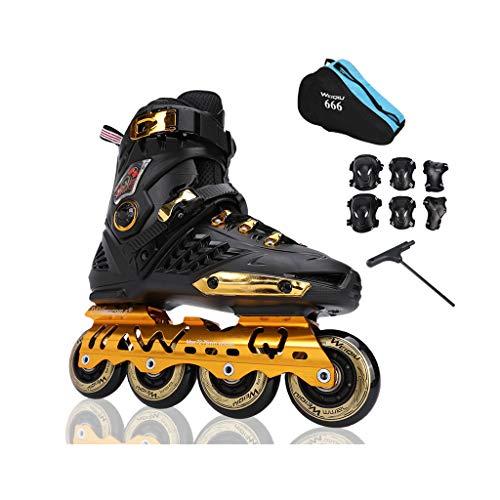 アサート宝石比率ailj インラインスケート、スケート、大人の男の子、女の子セットのローラースケート、プロの多目的スケート(3色) (色 : 黒, サイズ さいず : EU 43/US 10/UK 9/JP 26.5cm)