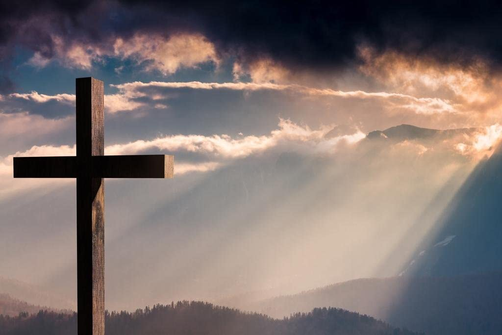Wooden Cross Crucifix on a Dramatic Colorful Sunset Photo Photograph Cool Wall Decor Art Print Poster 36x24