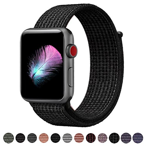 Yunsea For Apple Watch Band, New Nylon Sport Loop, with Hook and Loop Fastener, Adjustable Closure Wrist Strap, Replacment Band for iwatch, 42mm, N+ Black