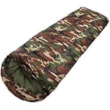 LJ&L Outdoor camping camouflage envelopes with cap sleeping bags, suitable for young people and adults outdoor sleeping bags, ultra-light compact bags and compressed bags