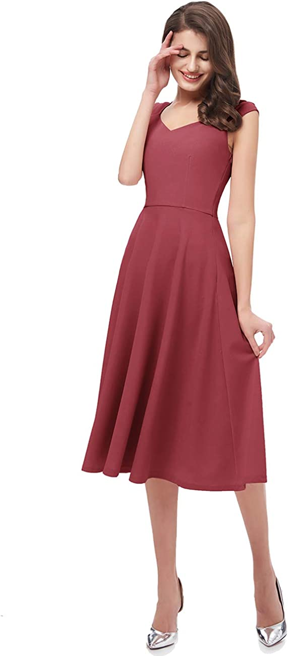 DRESSTELLS Womens Bridesmaid Vintage Tea Dress V-Neck Prom Party Swing Cocktail Dress