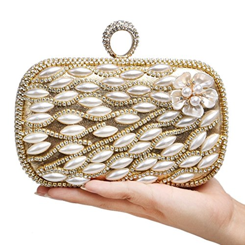 Luxury Ladies KERVINFENDRIYUN Bags Clutches Gold Color Gold Banquets Handbag Pearls Evening Flowers qOaEgHaw