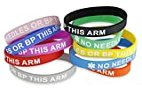 10-Pack No Needles Or Blood Pressure Medical Identification Bracelet Assorted Colors (10 Pack)