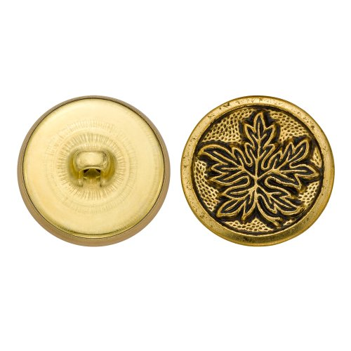 C&C Metal Products 5231 Leaves Metal Button, Size 36 Ligne, Antique Gold, 36-Pack by C&C Metal Products Corp