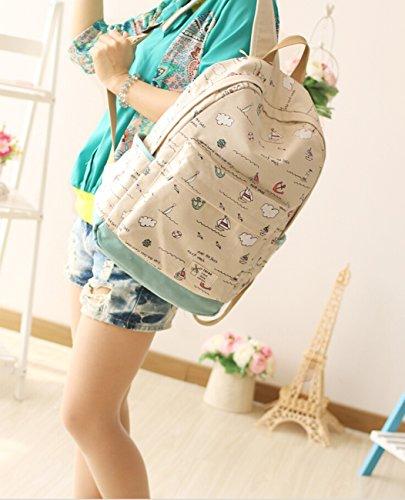 Lightweight Waterproof Canvas Backpack School Bag Super Cute Stripe School College Laptop Bag for Teens Girls Boys Students (Beige)