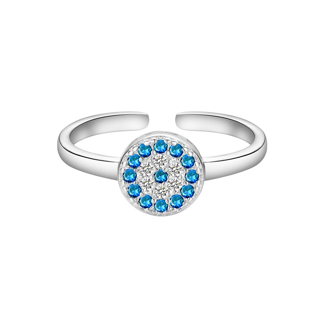 QIAMNI Elegant Shinning Blue Crystal Cubic Zircon Flower Round Eye Rings for Women Girl Wedding Gift Jewelry