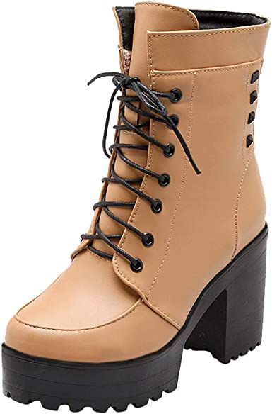Fashion Womens Faux Leather Round Toe Chunky Heels Lace Up Combat Ankle Boots
