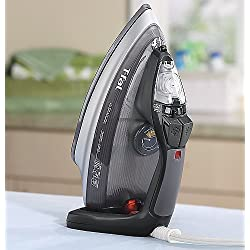 T-fal FV4495 Ultraglide Easycord Steam Iron Ceramic Scratch Resistant Non-Stick Soleplate Auto-Off Anti-Drip System, 1725-Watt, Black