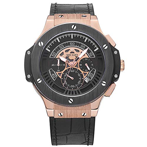 MEGIR Men's Sports Quartz Watches Military Army Silicone Strap Chronograph Wristwatch with Large Thick Dial Man Rose Gold