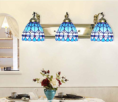 XNCH 6-inch Wall Sconces, Tiffany Style Mediterranean Design Glass Wall Lamp with Alloy Base, Vintage Wall Light Living Room Cafe Bath Mirror Lamps E27-4