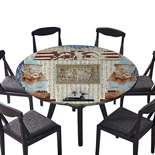 Picnic Circle Table Cloths Traditial Hieroglyph Backdrop with Mummy Pyramids and BastCollage Everyday Use 43.5