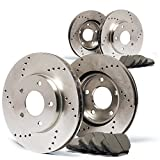 (Front) + (Rear) Cross Drilled Rotors w/Ceramic Pads Performance Brake Kit CP014123 | Fits: 2007 07 Chevy Silverado 2500HD