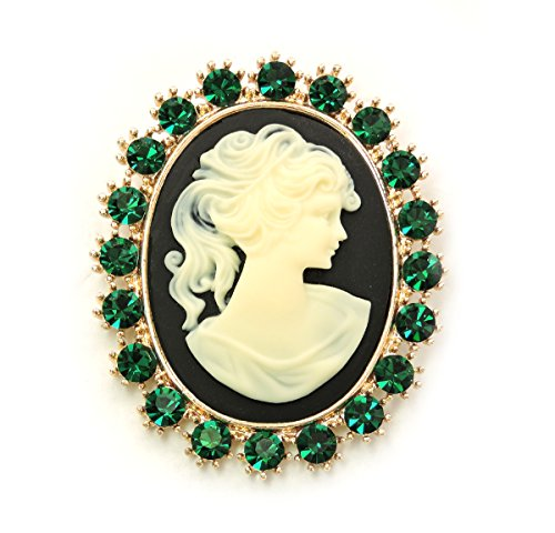 Emerald Green Rhinestone Pin (Faship Portrait Cameo Pin Brooch Emerald Green Rhinestone Crystal)