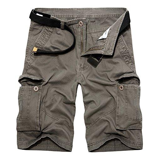 Combat Cargo Shorts - Hakjay Combat Shorts Cotton Mens Multi-Pocket 1 2 Cargo Shorts(whitout Belt)-Dark Grey-36