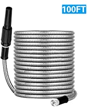 Boutique 75FT Stainless Steel Garden Hose with Spray Nozzle, Lightweight, Kink Free, Durable