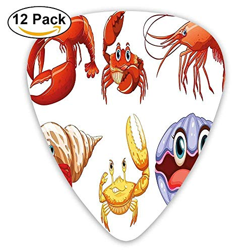 (Pejer Premium Celluloid Guitar Picks, Sea Animals Like Crab Hermit Crab Lobster Shell Shrimp Print Guitar Picks 12/Pack)