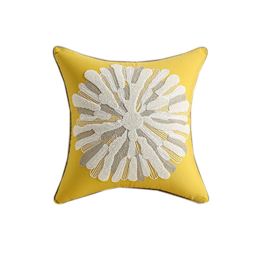 Throw Pillows Pillow Pillow Yellow Pillow Cushion Square Pillow Embroidered Pillow Head Cushion European Light Luxury Yellow Silk Creative Home Living Room Sofa Pillow