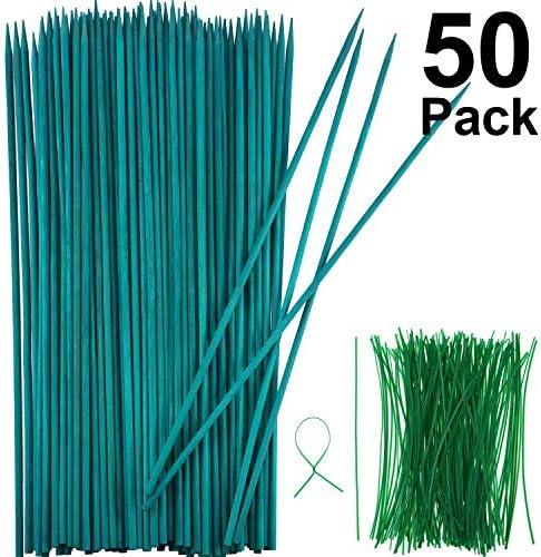 Grün Holz Pflanzen Stock Blume Pflanzen Unterstützung Holz Bambus Stake Natur Handwerk Picks mit 100 Stück 15 cm Langen, Grünen Metallisch Binde Bändern (45 cm, 50 Stücke)
