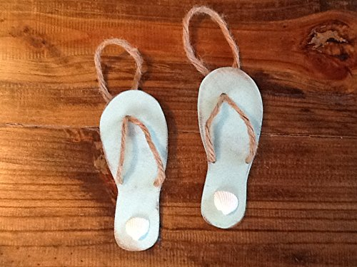 Set of 2 Flip Flop Christmas Beach Ornaments / Holiday Tree Coastal Shell Home Decor / Ocean Mist Aqua / Hostess Gift / Wine Decor (Aqua Mist Bar)