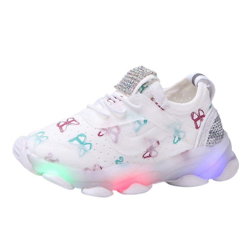 BSRYO LED Light Up Sneakers Toddler Baby Girls LED Outdoor Slip-on Sneakers Kids Breathable Mesh Sports Shoes