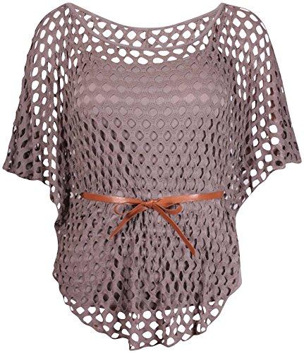 Souris Manche Purple Hanger Top Encolure Chauve Femme Crochet Empi Ceinture OBwPSXq4x