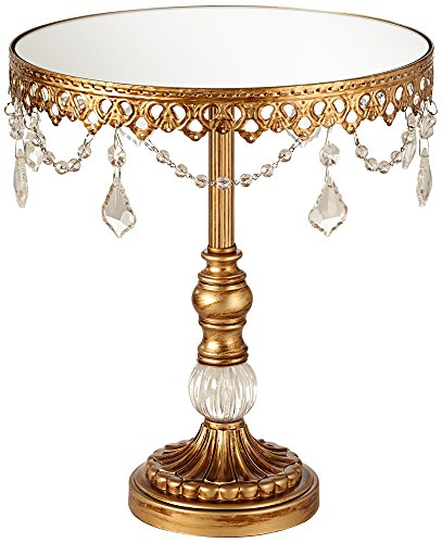 Antique Gold and Crystal Mirror Top 12x10 Round Cake Stand