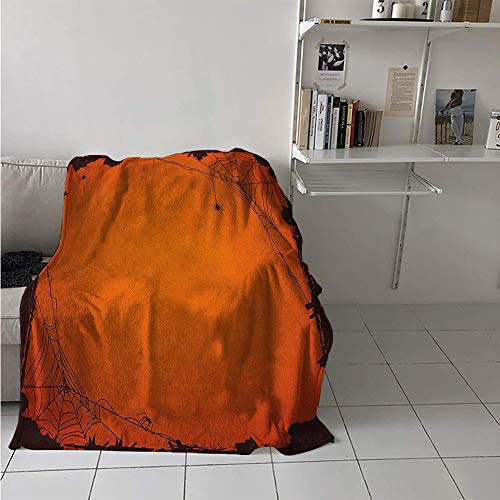 Maisi Super Soft Lightweight Blanket, Grunge Halloween Composition Scary Framework with Insects Abstract Cobweb, Custom Design Cozy Flannel Blanket 70x50 Inch Orange -