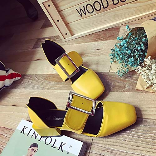 Piece Black Square Yellow Shoes PU amp; Toe Heels Heel Red ZHZNVX Women's D'Orsay Summer Black Two Polyurethane Block 6q87fgC