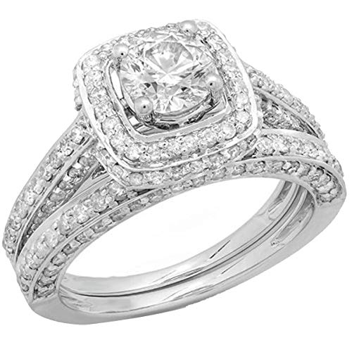 Dazzlingrock Collection 1.85 Carat (ctw) 14K Round Diamond Halo Style Bridal Engagement Ring Set, White Gold, Size 8